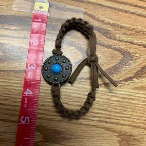 Jewelry - Handmade Leather Bracelet w/copper pendant